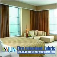Pass BS5867 linen-like fire retardant blackout luxury hotel curtain fabric wholesale XJFR16032