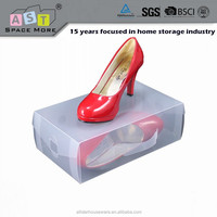 Acrylic clear shoe box plastic stackable organizer/ Clear Plastic PP Stackable Storage Shoe Drawer Box with Drawers