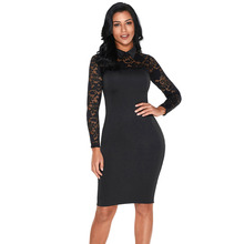 Fashion Wholesale Black Lace Sleeve Doll Collar Bodycon Retro Midi Woman Formal Dress