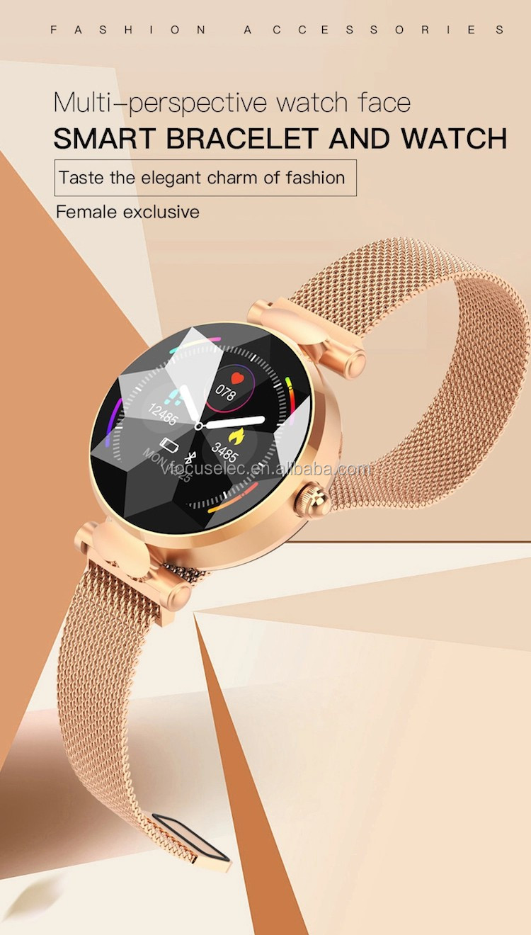 Smart Bracelet B80 Female Smart Watch with Menstrual Cycles Heart Rate Blood Pressure Lady Smartwatch Leather strap