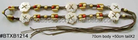 wood beads and waxed cord weaving braided belt with 6pcs small flower shape shells,knitting belt ,tassel belt ,garment accessory