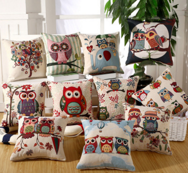Factory direct high-quality cotton and linen dyed jacquard owl cushions pillow sofa pad waist