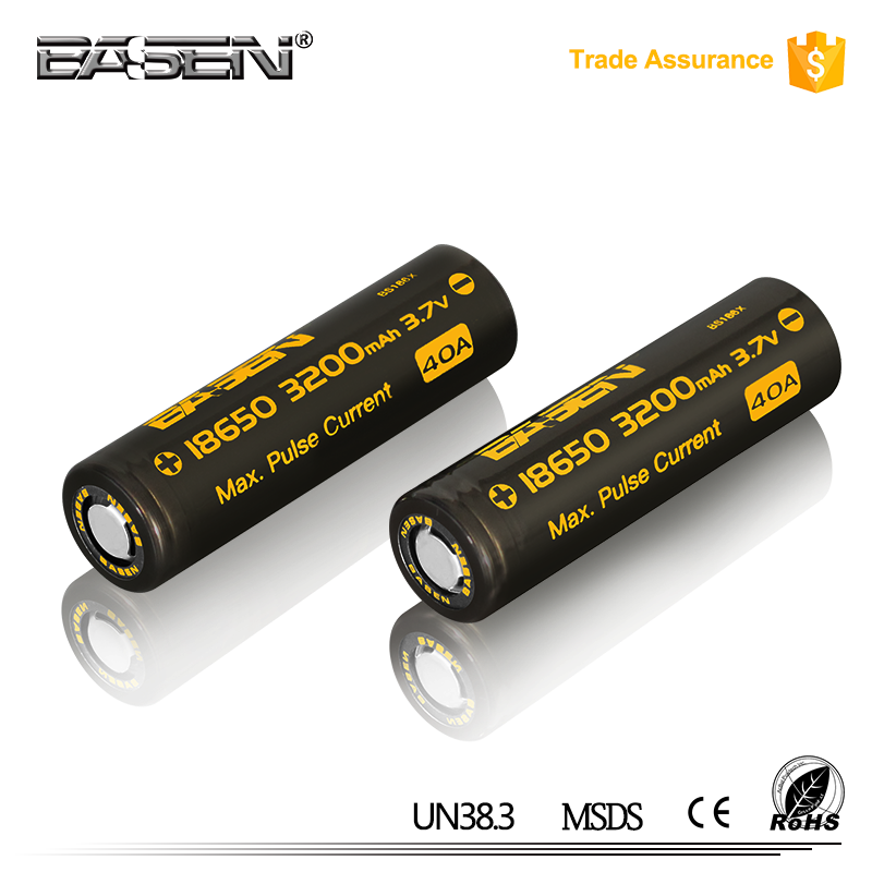 mod battery 18650 lithiuim battery new hottest BASEN cell 3200mah with 40A current IMR 18650 mod battery
