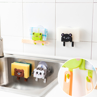 Cute Animal Frog Plastic HIPS Suction Cup Kitchen and Bathroom Sponge and Towel Holder