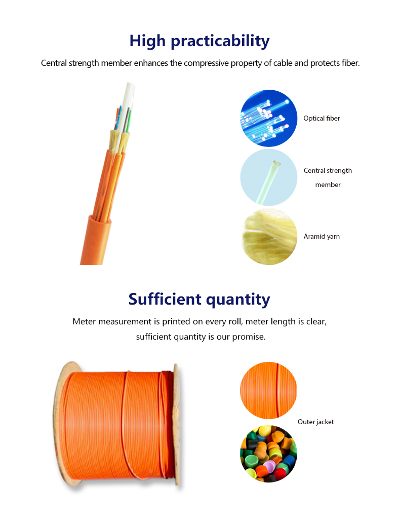 Indoor tight-buffered yellow/orangE g.625d fiber optical cable