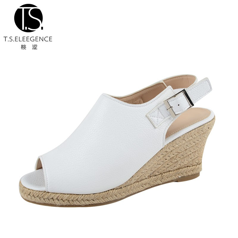 2016 Latest Sexy Open-toe White Plain Sling Back Lady PU Pump Wedge Sandals