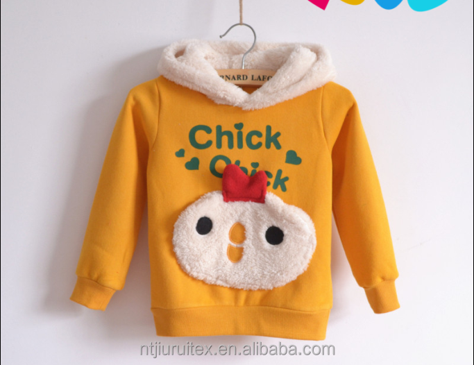 baby/kids sherpa fleece hoodies lined pullover/sweatshirt with 3D animal