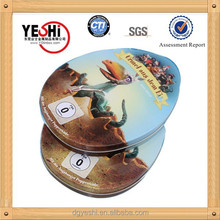 equiseit oval metal tin box for CD DVD packing