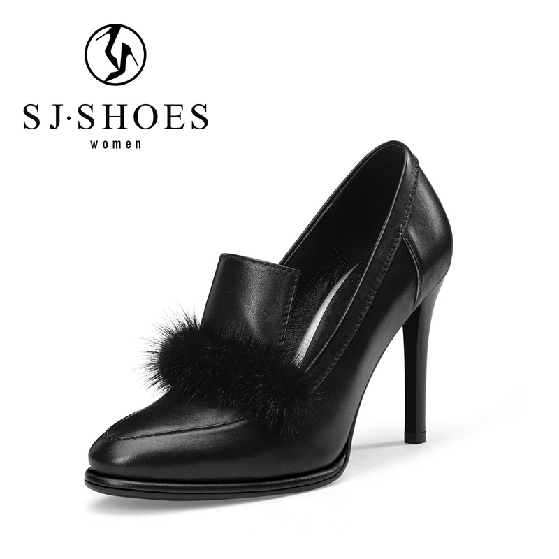 5607 New product shoes black genuine leather marten hair decoration shoes women heel ladies