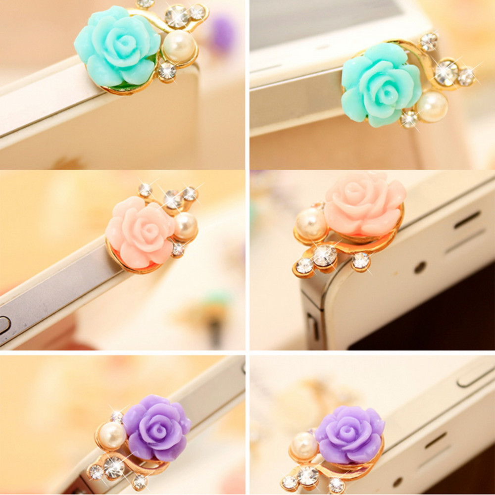Rose Flower 3D Crystal Bead Pearl Anti Dust Plug Charms For 3.5mm Phone For Apple4 4S 5 For Samsung Galaxy S3 S4 For HTC