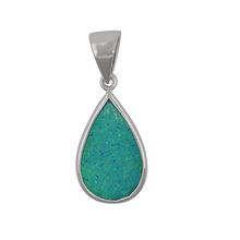 Imitation jewellery 925 Sterling <strong>Silver</strong> Created Blue Opal or Abalone Teardrop charm pear Pendant Necklace