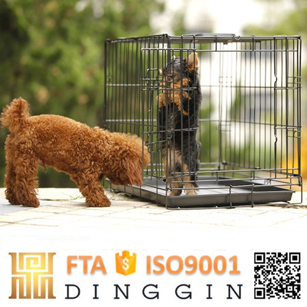 Wire mesh black dog kennel indoor
