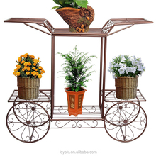 Elegant European Style Cart Design 6 Tier wrought Metal Planter / Flower Pot Holder Display Rack Stand garden decor