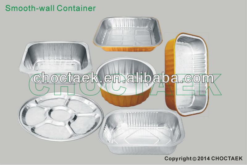 Disposable aluminum foil container(smooth wall container)