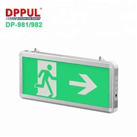 3.6 back battery emergency exit sign light with 6 pcs green led