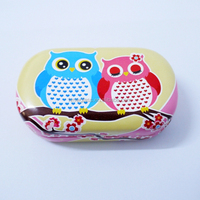 custom printed pattern metal PU pill box, good portable accessory case