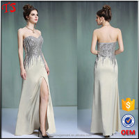 MOQ 1 piece strapless dress beaded long evening dress 2015
