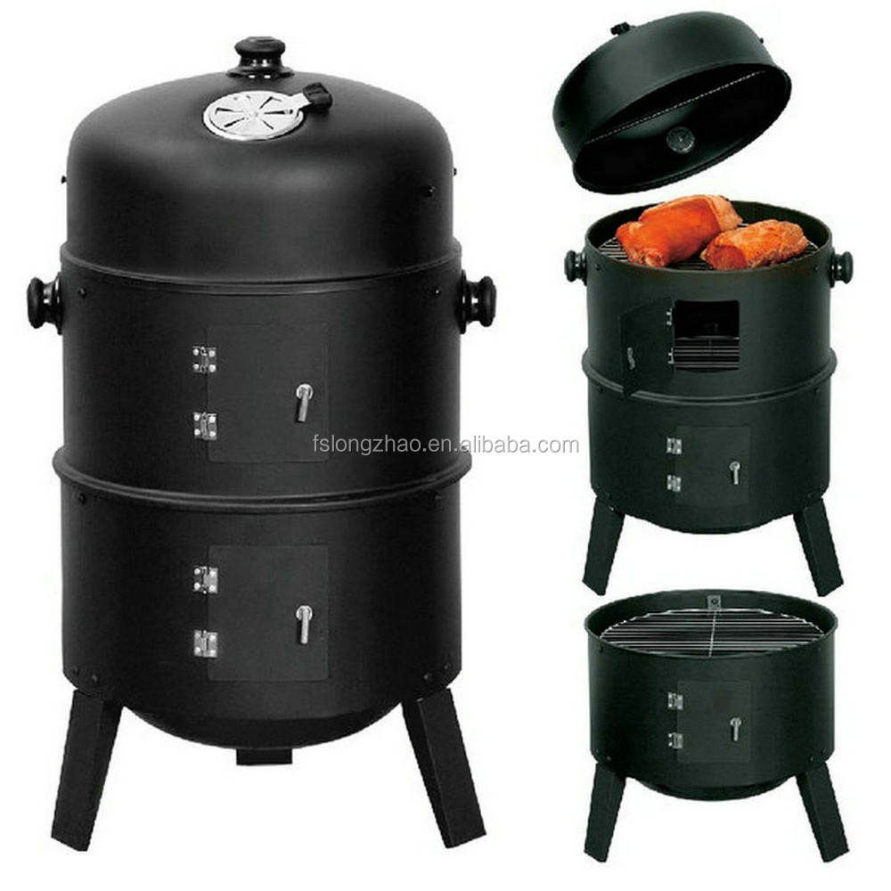 With chimney BBQ charcoal smoker smoking BBQ grill roast stove oven
