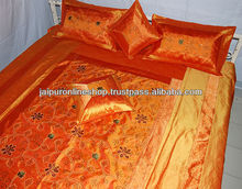 Indian Embroidered Brocade Silk Bedspread 5 pcs