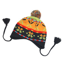 JS Customized Acrylic Earflap Fleece Lining Knitted Hat