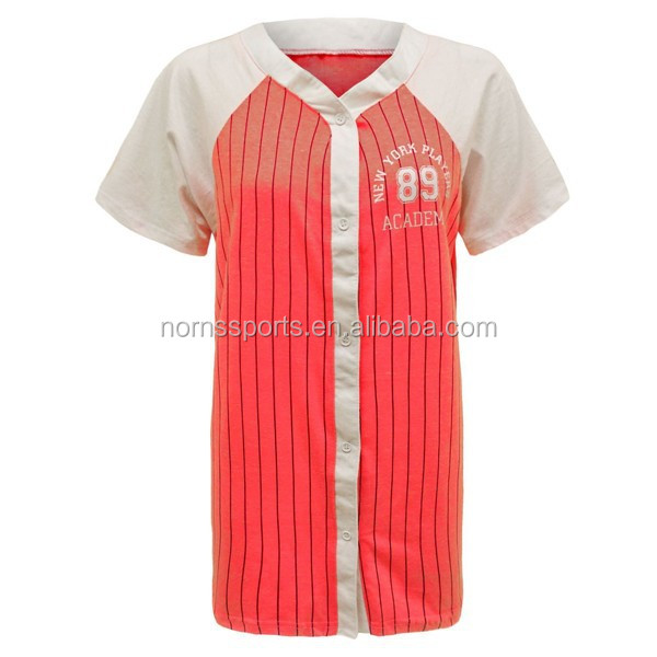 Hot Sublimated Button Down Pink Baseball Jersey