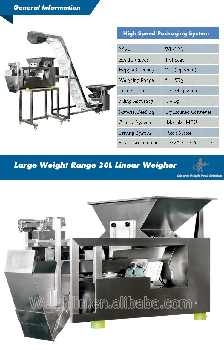 Full packing system combining with 3head linear weigher and inclined conveyor for dosing packing plastic parts fruit salad