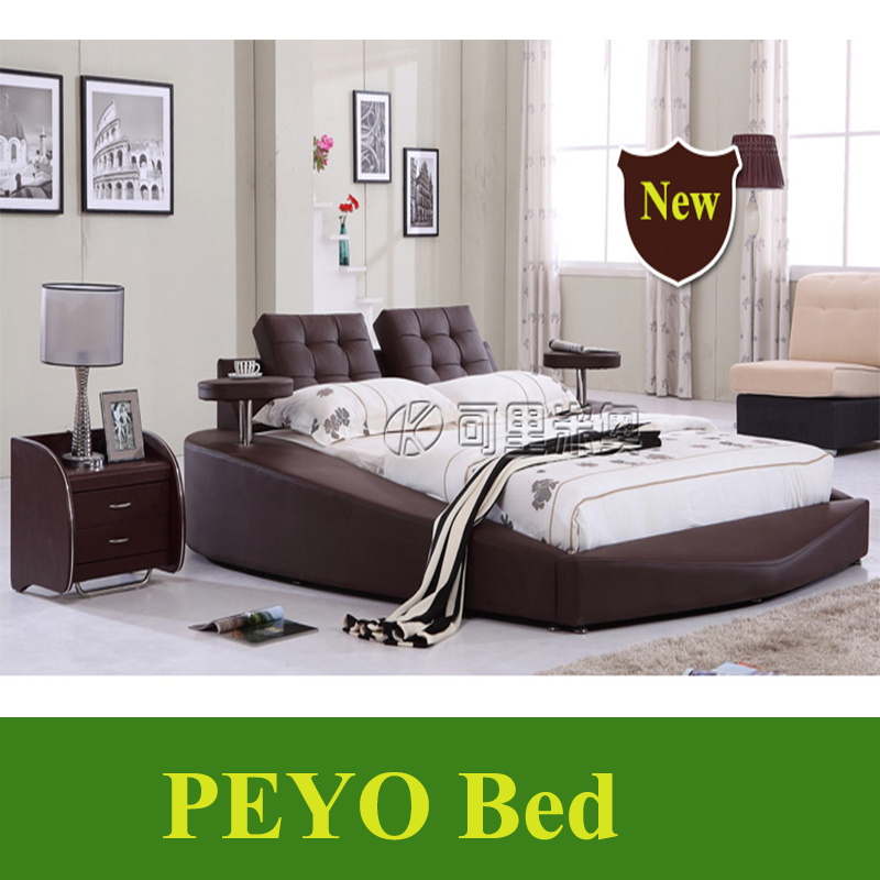Modern leather Round bed circular beds bedroom furniture frame