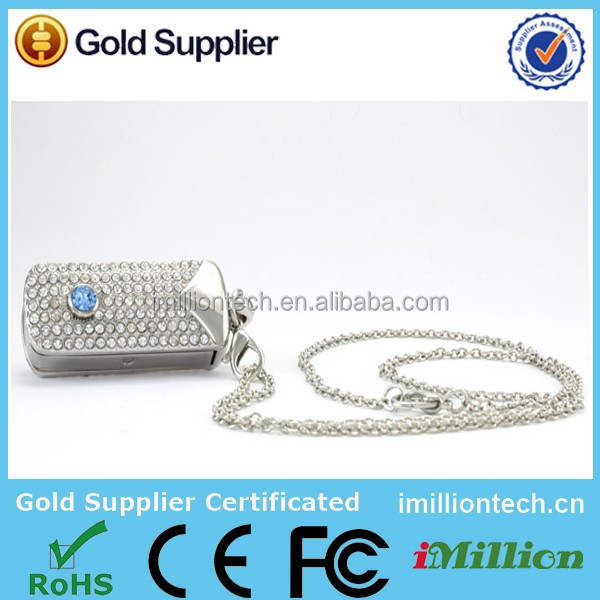 Jewelry diamond usb flash drive/crystal necklace usb/jeweled necklace usb flash drive