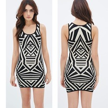 {OEM} 2016 Summer New Sleeveless Scoop Neck Geo Pattern Bodycon Dress Women 9262