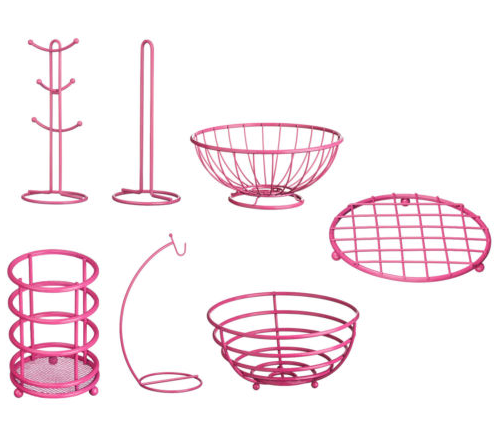 Hot pink powder coating stylish iron metal fruit basket hanger holders racks for kitchen organizer storage