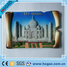 Customized 3d resin indian souvenir fridge magnet for Taj Mahal scenery