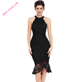 Sexy Black Halterneck Sleeveless Lace Fishtail Bodycon Dress