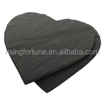 Customized heart shaped slate placemats and coasters