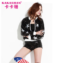 Hiphop Shirt Costume Dance Jazz Women Black Jacket Star Pattern Sequin Bomber