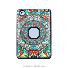 3 in 1 Hybrid Protective Case PC Colorful Totem Pattern Flip Fold Cover For iPad Mini 1 2 3