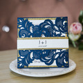 Navy Blue Laser Cut Wedding Invitations With Glitter Layer
