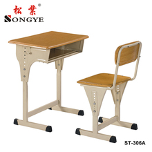 Ergonomics school furniture used injection top wooden student single desk and chair