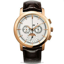 Japan movt quartz watch stainless steel , stainless steel watch with leather strap, chronograph watch
