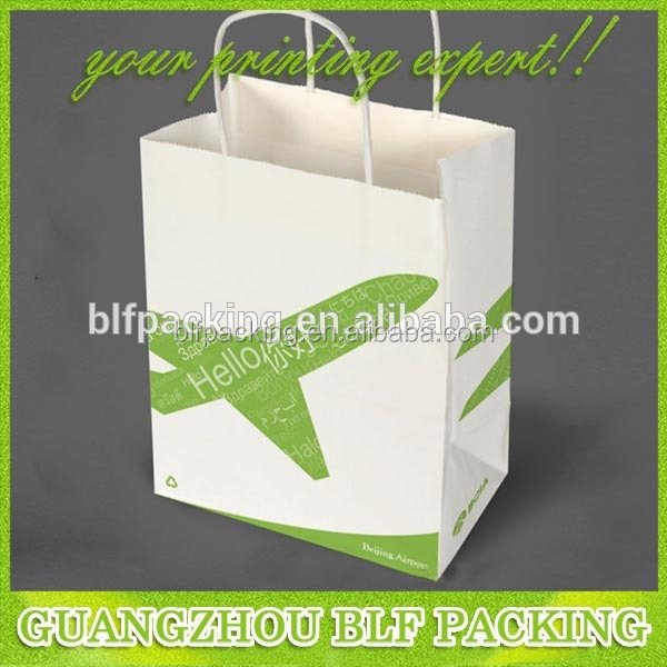 (BLF-PB913) White kraft multicolor printed paper bag templates