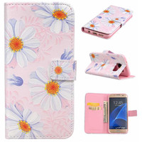 Newest Book Flip Style Print Covers PU Leather Case For Samsung For Galaxy S7Edge Wallet Stand Cover CA397