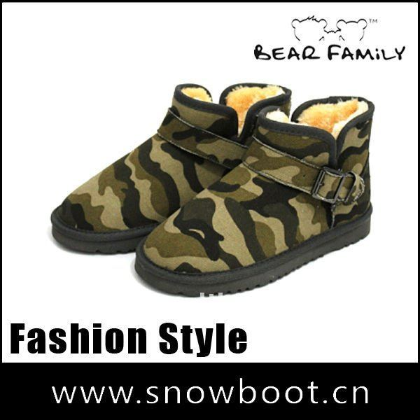 Women fashion boots 2012 camouflage twill fabric fake fur ankle winter snow boots