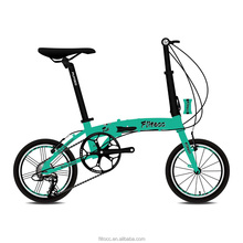 "Flitocc bicycle folding 14"" adult Blue-green lightweight aluminum frame folding bike"