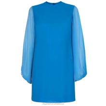 Women's Turquoise Crepe Silk Balloon Sleeve Dress
