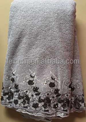 New arrival gray african french net lace tulle african fabric with stones for party garment, net cloth LL2865