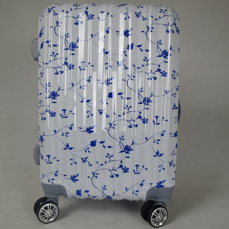 Japanese <strong>abs</strong> white color wheeled cabin luggage with flower