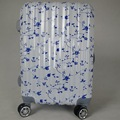 Japanese abs white color wheeled cabin luggage with flower