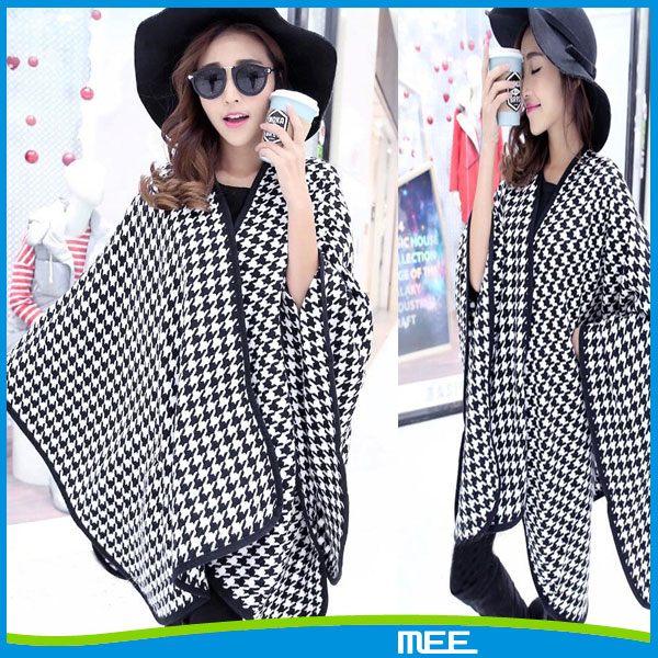 2016 fashional women winter knitted houndstooth poncho cape