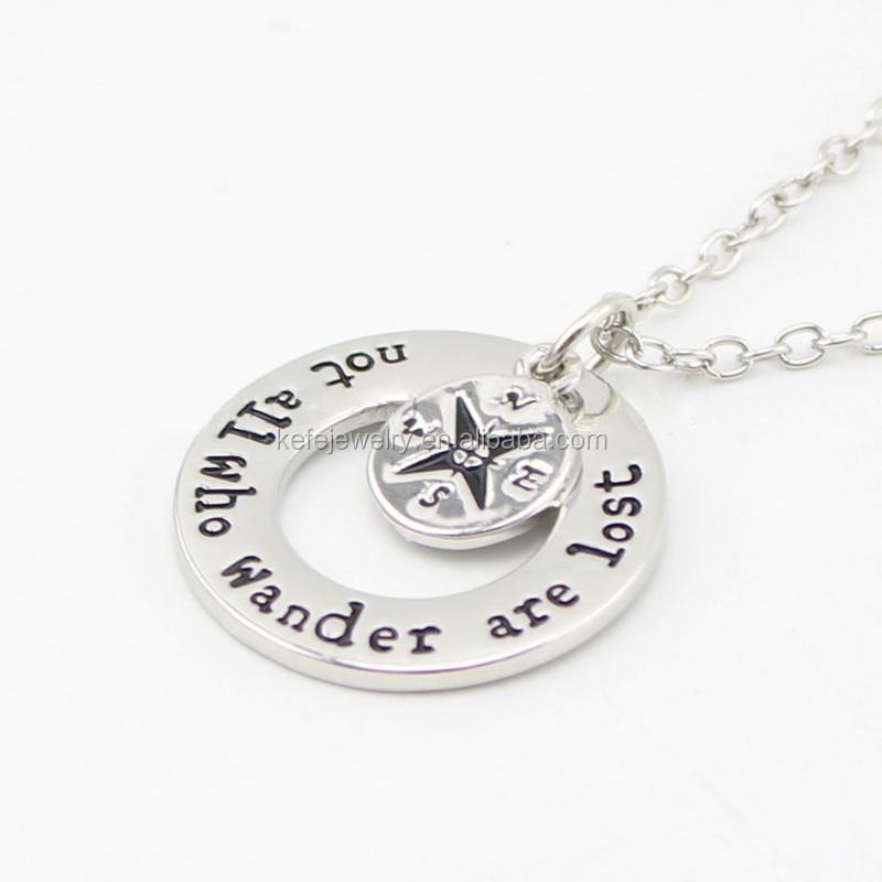 Not All Those Who Wander Are Lost Necklace Silver Handmade Wanderlust Compass Charm Necklace