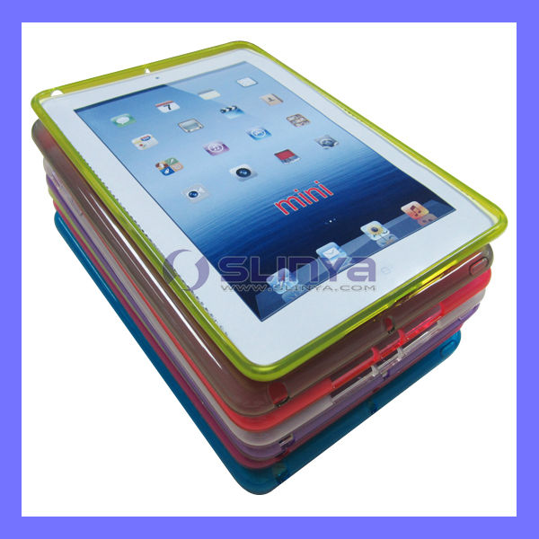 Discount Price 8 Color Semi Transparent Pure Color Slim TPU Case for iPad Mini