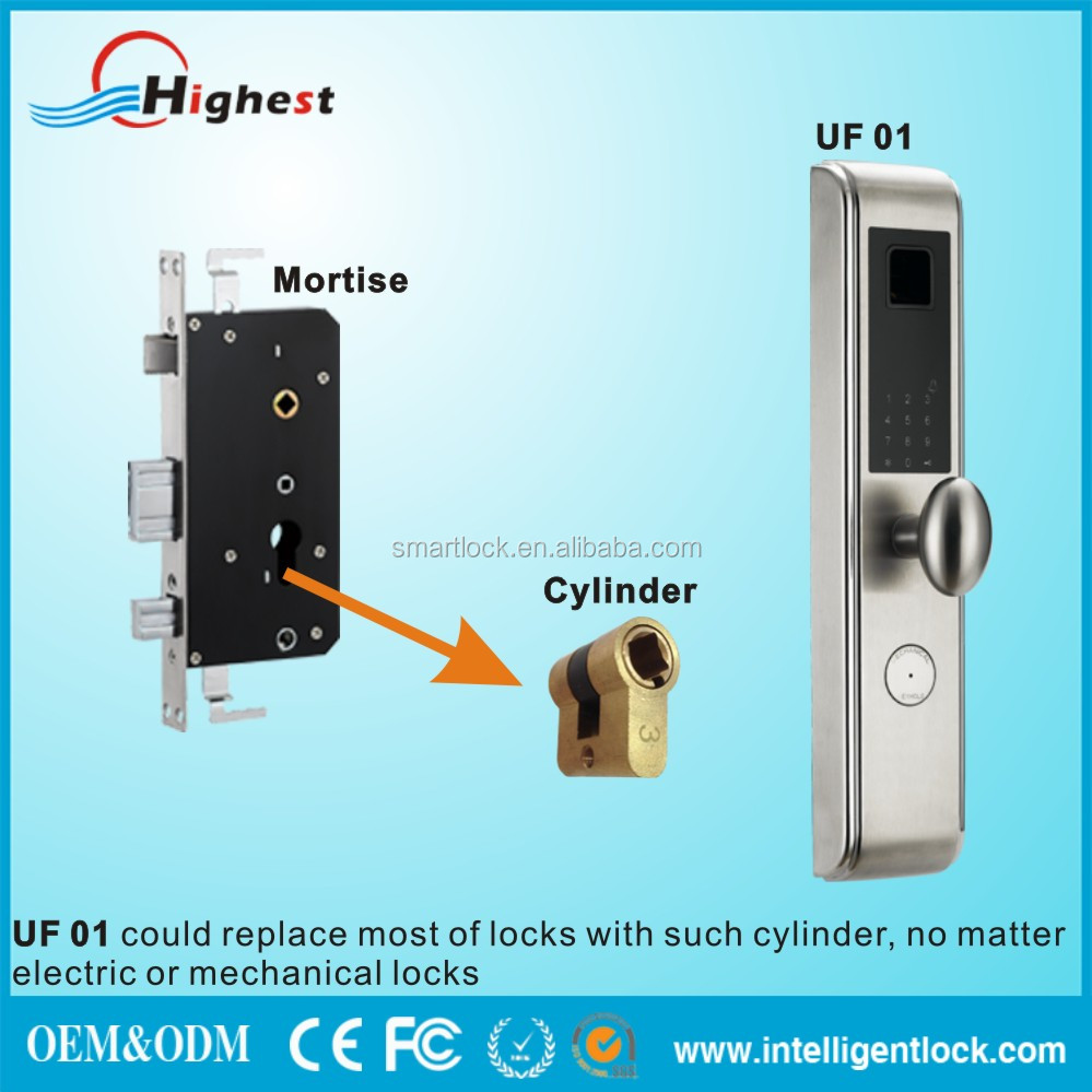 New Design Manufactory Universal Swap Security Electronic Rfid card fingerprint door lock schlage with CE FCC ROHS Certificate